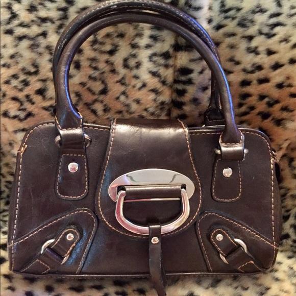 Hillard & Hanson Handbags - HILLARD & HANSON Dark Brown Mini Top Handle Purse